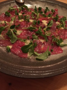 Yuzu & olio nuovo marinated raw tuna with watermelon radish